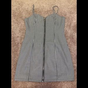 Forever 21 Plaid Black & White Zip Down Mini Dress